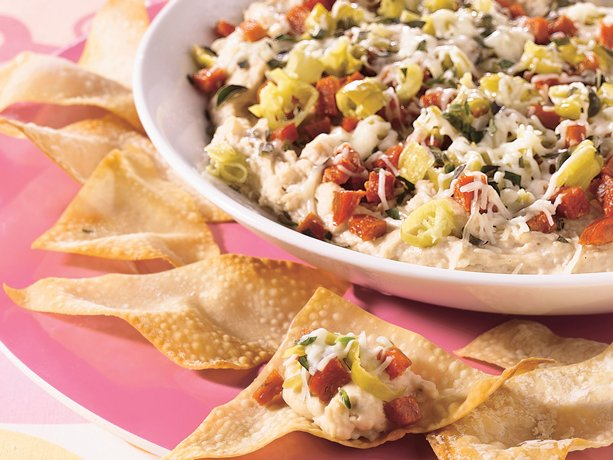 Layered Italian Dip with Crisp Wontons