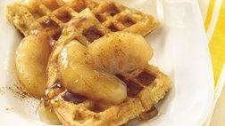 Cinnamon-Corn Bread Waffles with Apple-Cinnamon Syrup