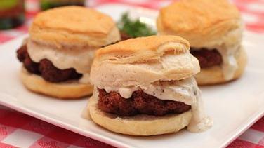 Chicken Fried Steak and Biscuit Sliders