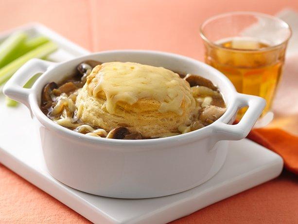 French Onion-Chicken Pot Pies  Recipe from Betty Crocker