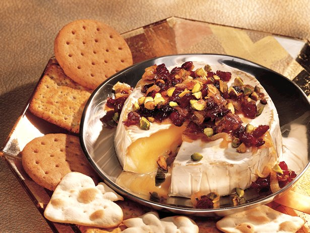 Brie with Caramelized Onions, Pistachio and Cranberry