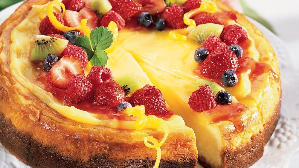 Lemon Chiffon Cheesecake with Fruit Topping recipe from Pillsbury.com