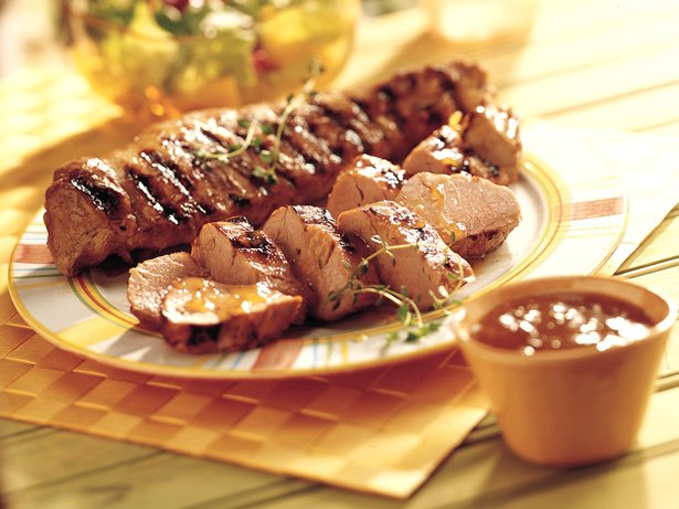 Grilled Peach- and Mustard-Glazed Pork Tenderloin