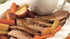 Slow Cooker Beef Roast and Vegetables with Horseradish Gravy Recipe