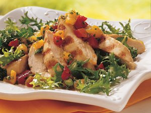 Apricot Salsa Grilled Chicken Salad