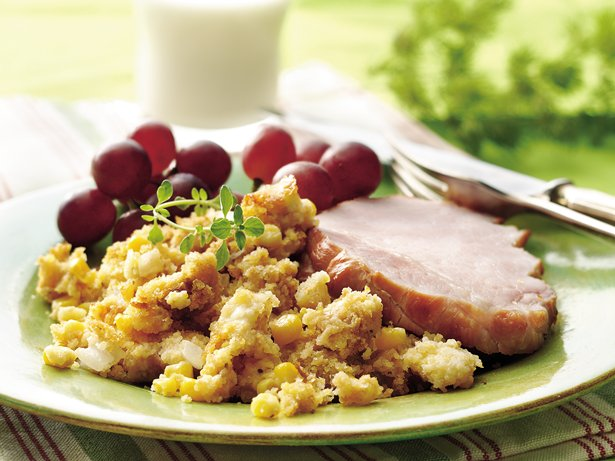 Smoked Pork Chops with Tex-Mex Cornbread Stuffing