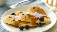 Blueberry Pancake Hearts (Cooking for 2)
