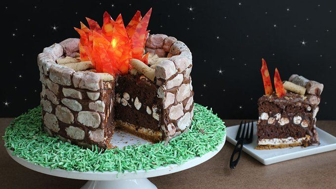 Fire Pit S'mores Cake