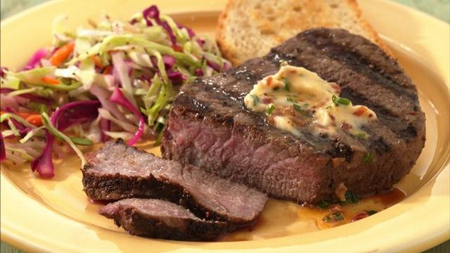 Tenderloin Steaks with Chive 'n Bacon Butter
