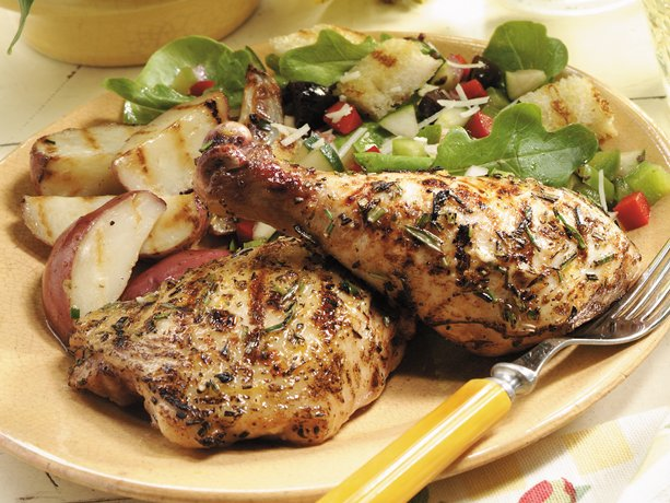 ... grilled chicken marinated with lemon-pepper seasoning, rosemary leaves