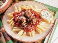 Italian Turkey Meatballs With Mostaccioli
