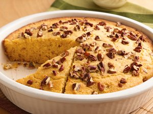 Pecan-Topped Cornbread with Honey Butter