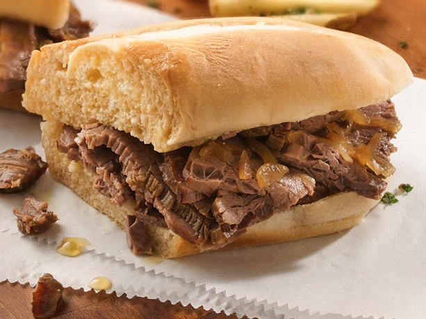 with four ingredients and slow cooker preparation this beefy sandwich ...