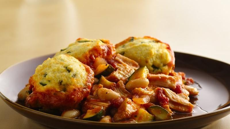 Italian Chicken Pot Pie with Basil Biscuits recipe from Betty Crocker