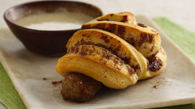 Cinnamon Roll-Wrapped Sausage with Maple Dipping Sauce