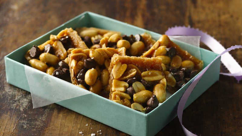 Salty Caramel Peanut Brittle Bars
