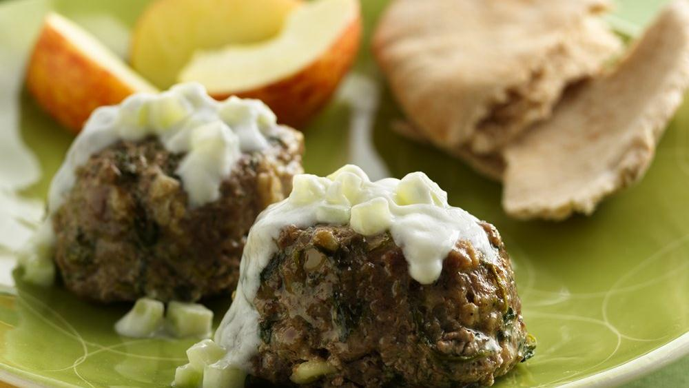 Mini Greek Meat Loaves with Tzatziki Sauce