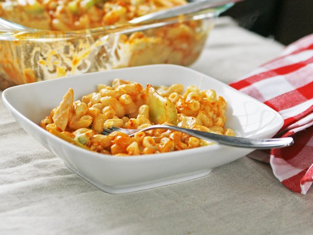 ... mac and cheese with spicy Buffalo chicken in this delicious comfort