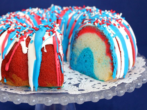 Firecracker Red White and Blue Cake