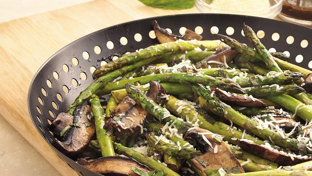 Grilled Parmesan Asparagus and Mushrooms