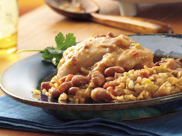 Slow Cooker Chipotle Chicken and Pintos with Spanish Rice
