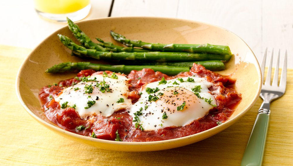 Poached Eggs with Tomato Sauce and Asparagus recipe from Pillsbury.com