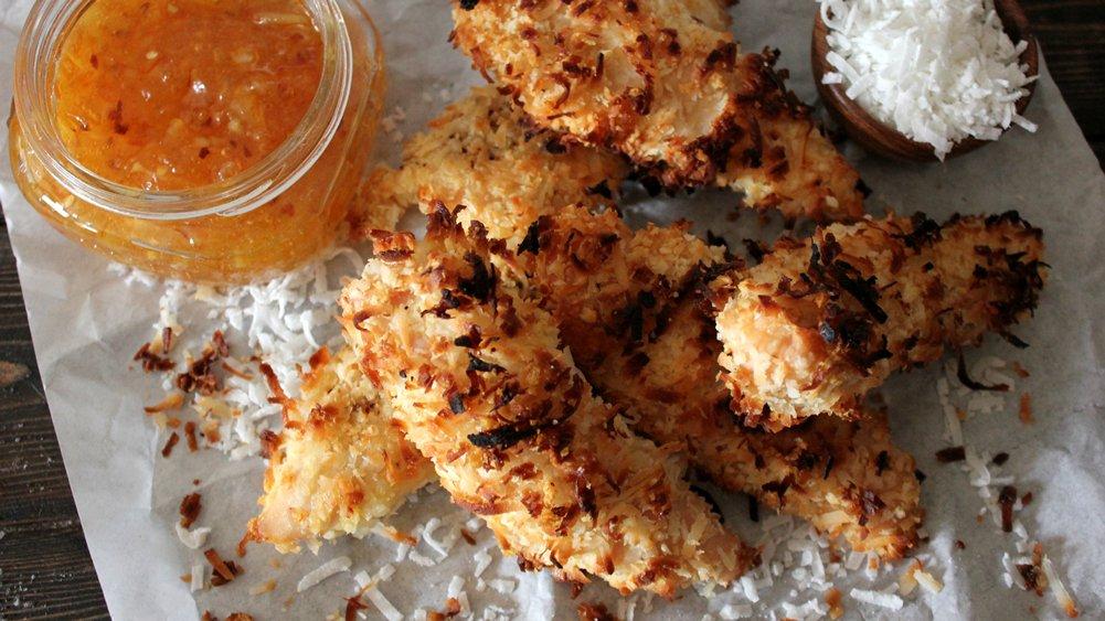 Coconut-Crusted Chicken Tenders recipe from Pillsbury.com