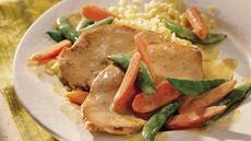 Turkey Cutlets with Snap Peas and Carrots Recipe