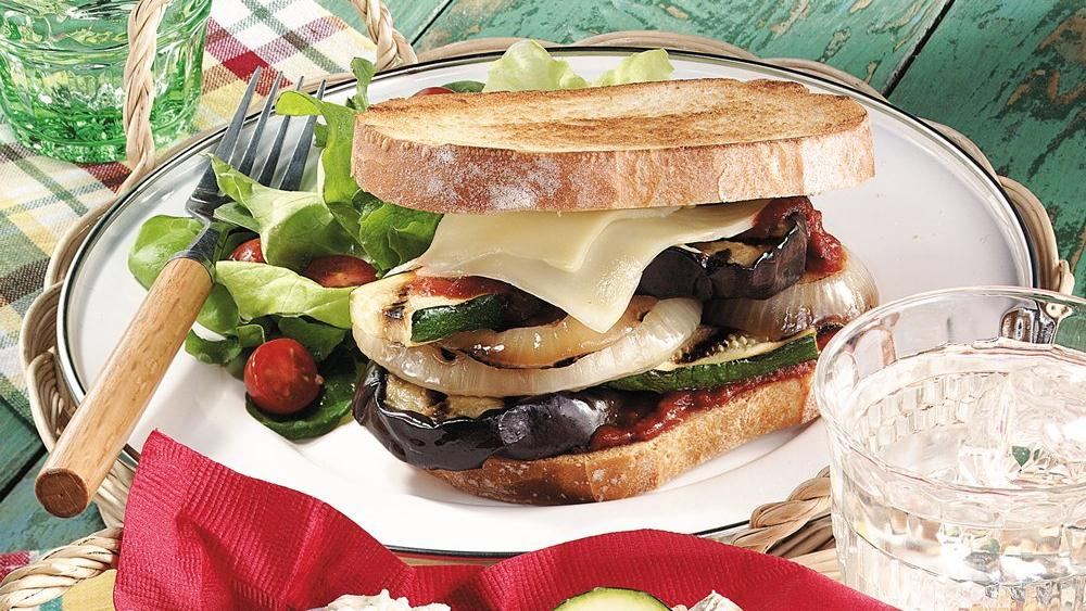 Grilled Eggplant Pizza Sandwiches recipe from Pillsbury.com