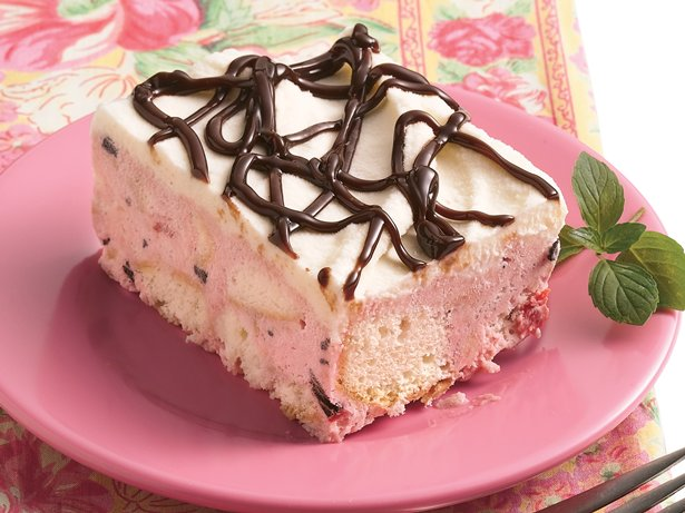 White Chocolate-Cherry Chip Ice Cream Cake