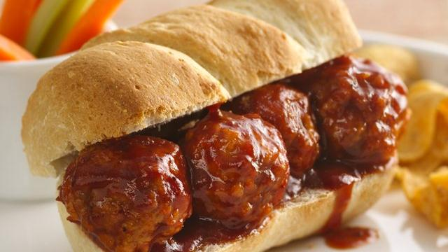 Barbecue Meatball Hoagies