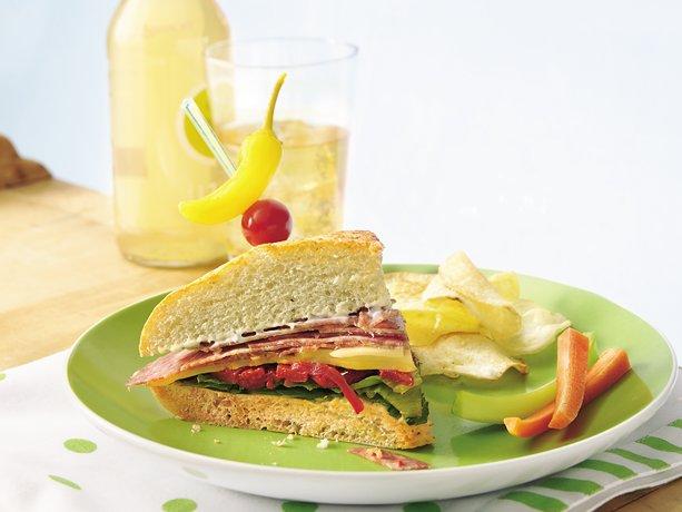Image of Antipasto Focaccia Sandwich Wedges, Betty Crocker