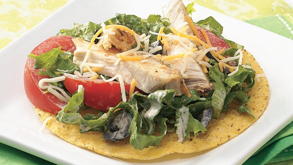 Southwestern Chicken Tostada Salad recipe from Pillsbury.com