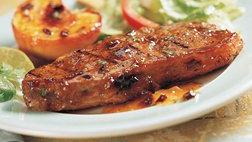 Strip Steaks with Chipotle-Peach Glaze