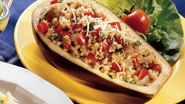 Bulgur-Stuffed Eggplant