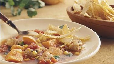 Southwest Chicken Soup with Baked Tortilla Strips (Cooking for Two)