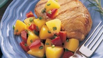 Soy-Grilled Pork with Fresh Peach and Red Pepper Salad
