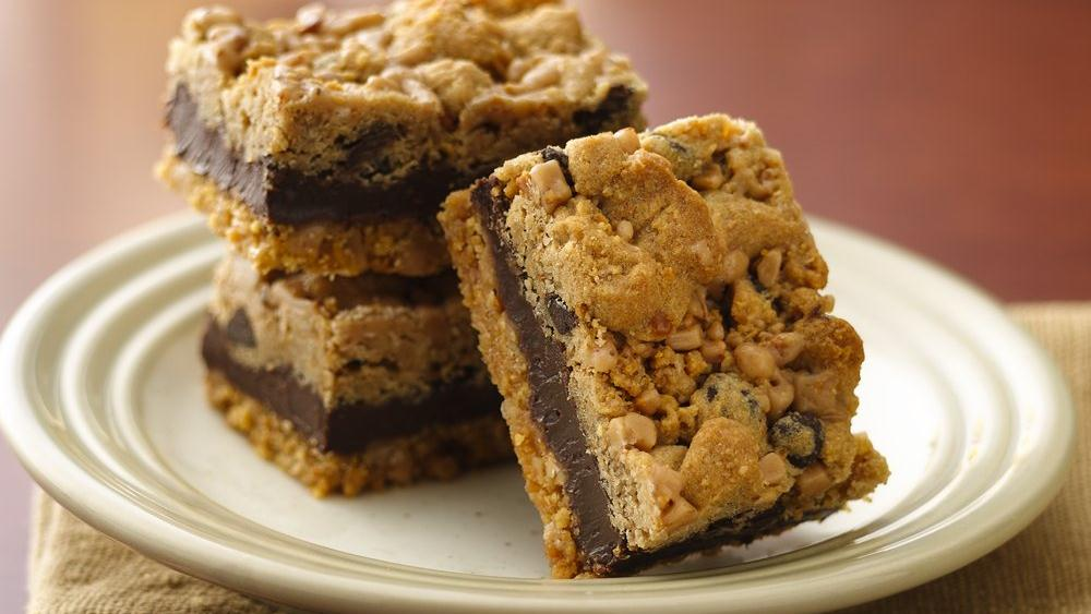 Fudgy Chocolate Chip-Toffee Bars recipe from Pillsbury.com
