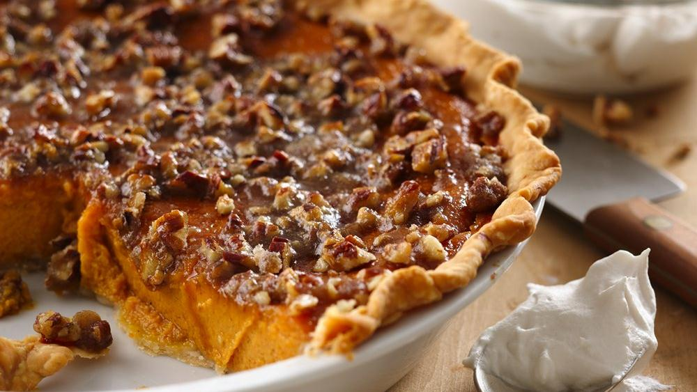 Pumpkin Pecan-Praline Pie Recipe — Dishmaps