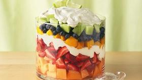 Layered Summer Fruits with Creamy Lime Dressing Recipe