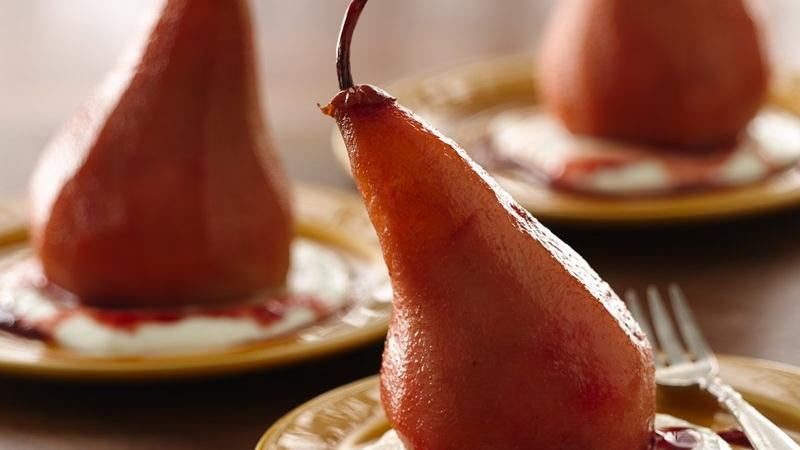 Pomegranate Poached Pears with Yogurt Sauce