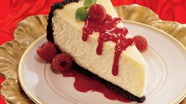 Orange Cheesecake with Raspberry Sauce