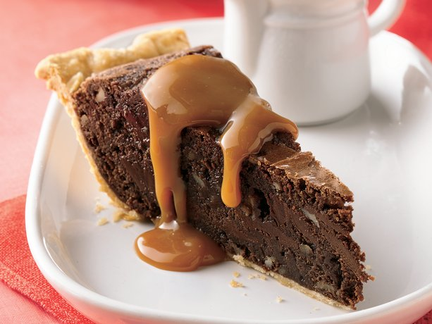 Fudgy Brownie Pie with Caramel Sauce  Recipe from Betty Crocker