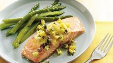 Salmon with Lemon Butter and Pineapple Salsa Recipe