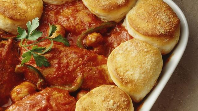 Chicken Cacciatore Biscuit Bake