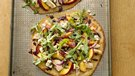 Gluten-Free Pizzettas with Chicken, Peach, Blue Cheese and Arugula