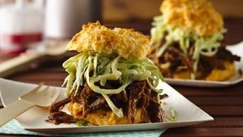 BBQ Beef with Creamy Slaw on Cheese Garlic Biscuits