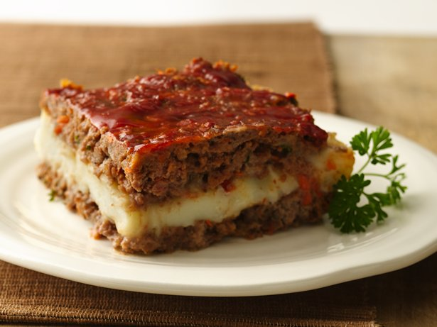 Gluten Free Mashed Potato Stuffed Meat Loaf Squares