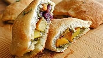 Mini-Calzones with Roasted Butternut Squash and a Sage-Walnut Pesto