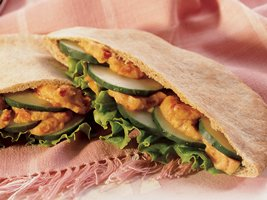 Red Pepper Hummus Pita Sandwiches